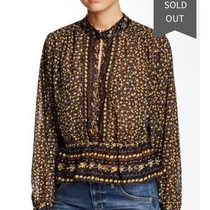Free People If I Had You Printed Blouse Medium
